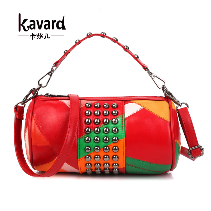 Kavard Genuine Leather Bag Sheepskin Women Messenger Bags Luxury Handbags Designer Rivet Chains Female Small Shoulder