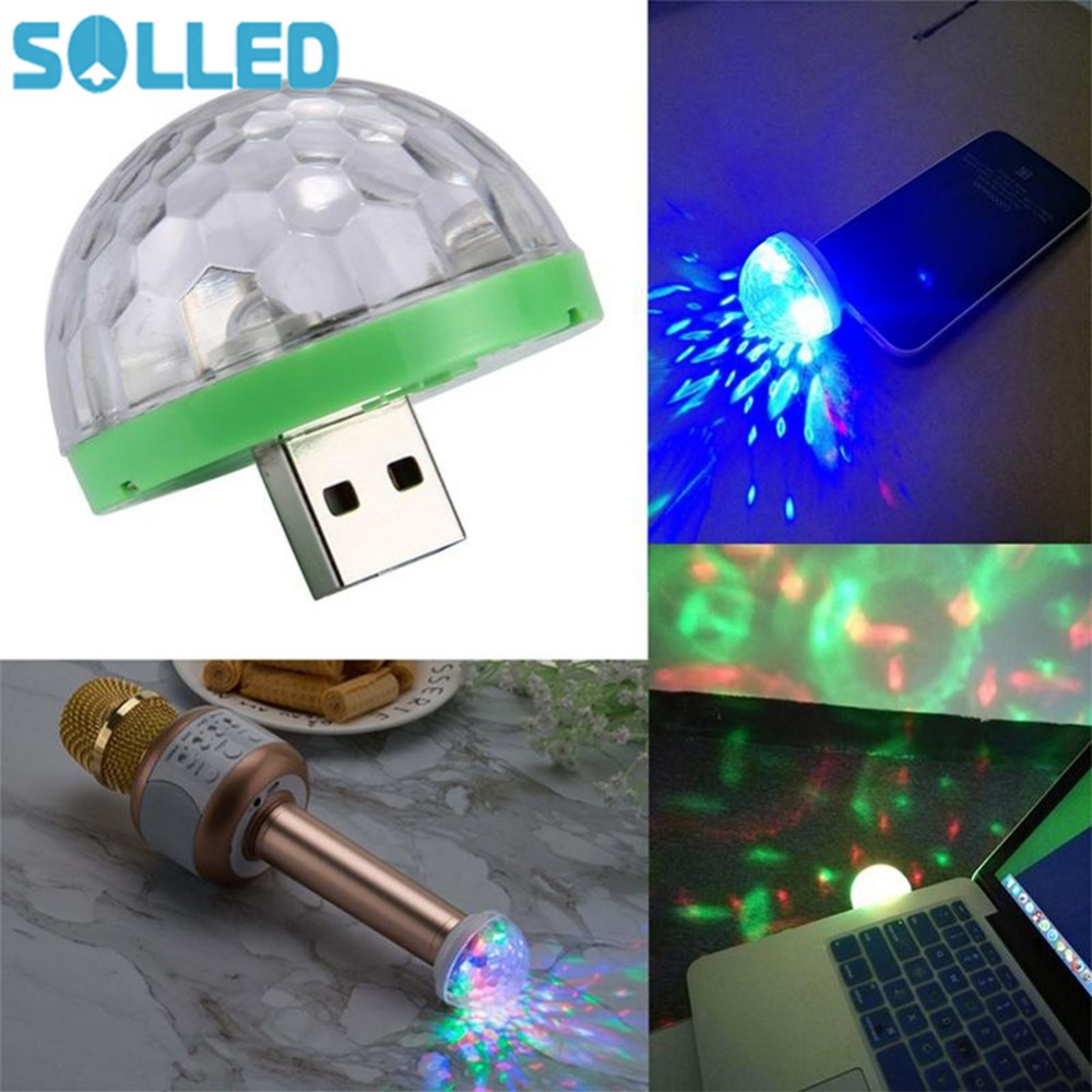 SOLLED Mini DJ Laser Light with USB Plug Mobile Phone Magic LED Colorful Light for Stage Bar Decoration ...