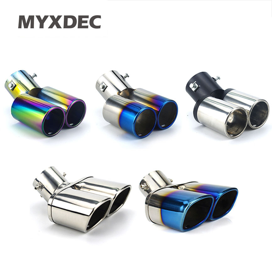 Car Auto Round Exhaust Muffler Tip Stainless Steel Exhause 1 to 2 Dual Pipe Chrome Trim Modified Car Rear Tail Throat Liner-in Mufflers from Automobiles & Motorcycles