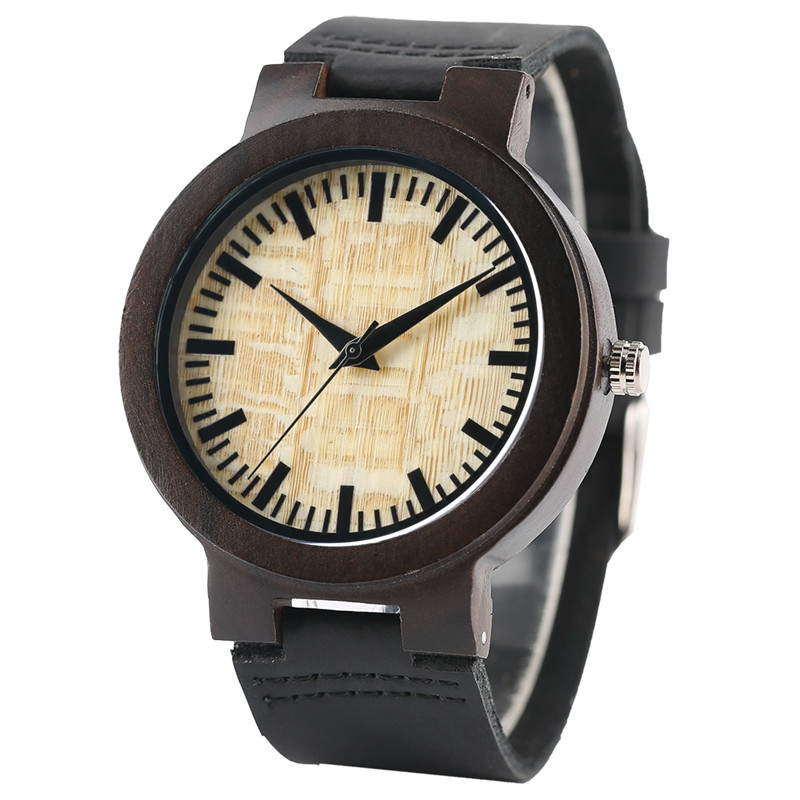 Fashion Light Yellow & Green Dial Dark Brown Case Men's Wood Watches with Black Genuine Leather Band Reloj de madera