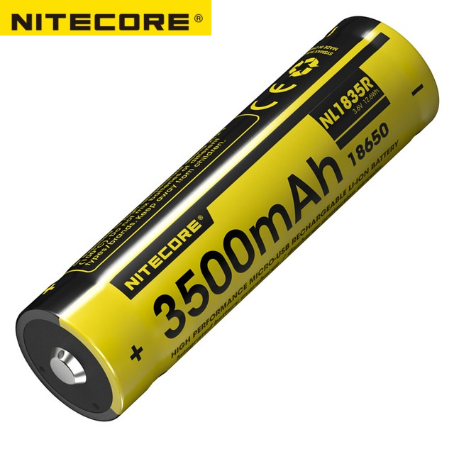 Nitecore NL1835R 3.6V 3500mAh 18650 Micro-USB Rechargeable Li-ion Battery with Charging Port nitecore nl188 3100mah rechargeable li ion 18650 battery black yellow