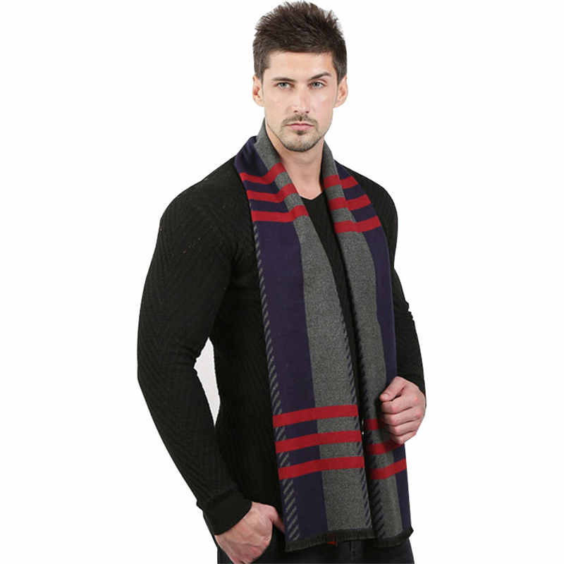 New Men's Simple Plaid Scarf Classic Men Business Scarf For Boys Student Autumn Winter Warm Long Scarves Gift For Dad Boyfriend