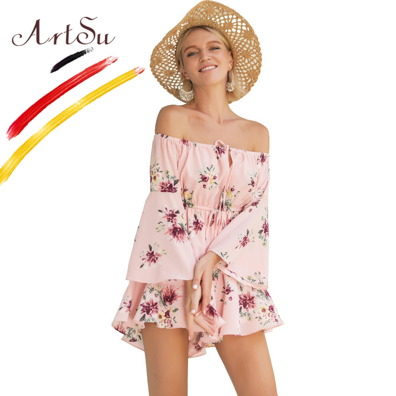 ArtSu Boho Floral Print Short Jumpsuit Rompers Women Off Shoulder Elastic Waist Summer Playsuit 2018 Flare Sleeve Pink Bodysuits