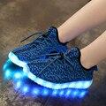 Bebê Meninas/Meninos Sapatilhas do DIODO EMISSOR de Luz, 7 LED Cores Crianças Moda Sapatilhas de Carregamento USB, crianças piscando luzes shoes