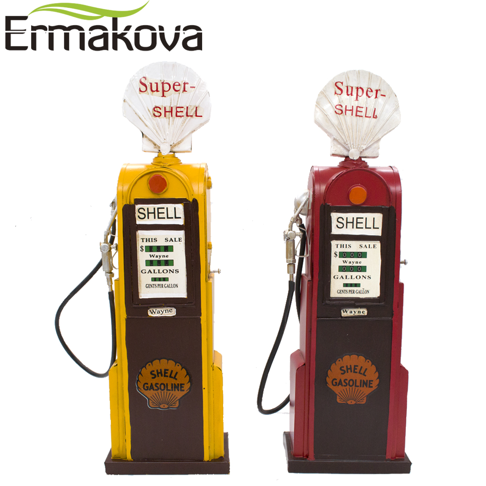 ERMAKOVA 45cm(17.7 ) Height Handmade Retro Metal Gas Station Vintage Classic Vintage Gas Pump Prop Home Office Decor Ornament