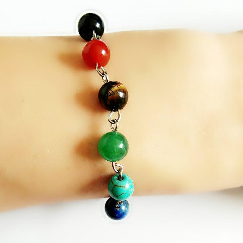 6-8mm Green Dongling Jade Chakra Bracelet Wrist Energy Man Healing Spirituality