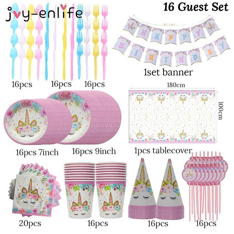 JOY ENLIFE 16 Guest Unicorn Party Decoration Kit Unicornio Plates Cups Napkins Table Cover Baby Shower