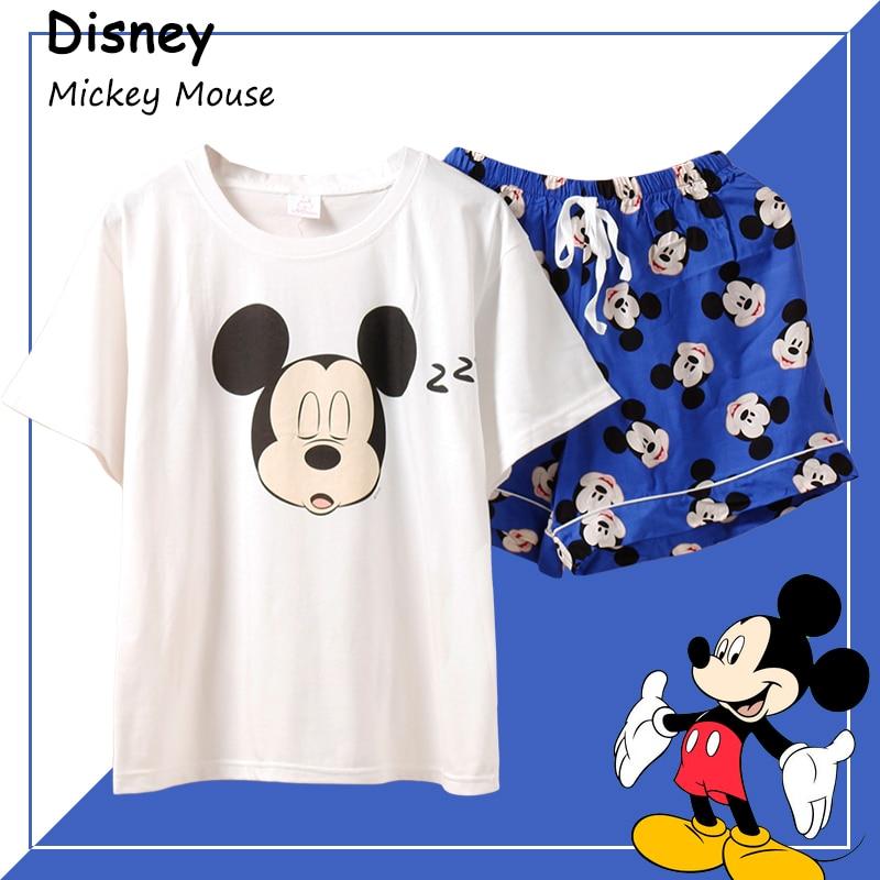 Caiyier Mickey Mouse Print Cotton Pajama Sets Short Sleeve Sleepwear Summer 2019 Women Nightgown Cute BPijama Autumn Nightshirt