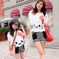 Conjuntos de roupas da família novo estilo verão olá kitty Bat Shirt + calções 2 PCS set Mãe e filha set Meninas roupas Femininas