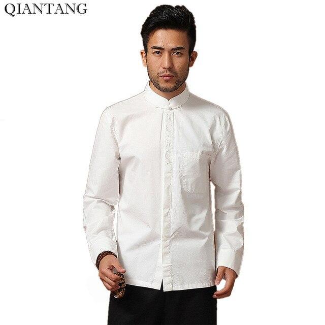 Overhemd Xl.Hoge Kwaliteit Witte Traditionele Chinese Heren Katoen Kung Fu