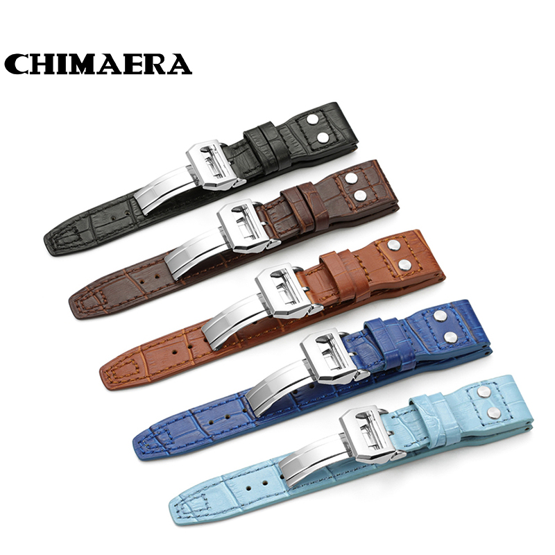 22mm Watch Band Black Brown Blue Croco Grain Cowhide Italian Genuine Leather Rivet Watch Strap For