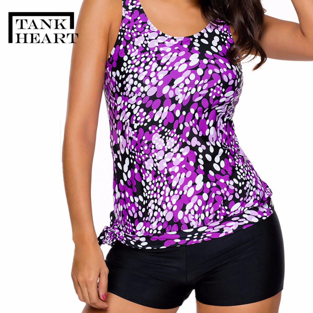 929c0829ca8ff Tank Heart Dot Top Shorts Tankini Set Sport Suit Women loose Swimwear  Sportswear Swimming Suit Beachwear Plus Size Bikini XXXL-in Body Suits from  Sports ...