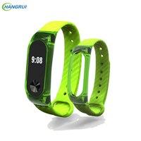 HANGRUI Crystal Plastic+Carbon Fiber silicon strap For xiaomi Mi band 2 Smart Wrist Bracelet Extended plus Strap Replacement