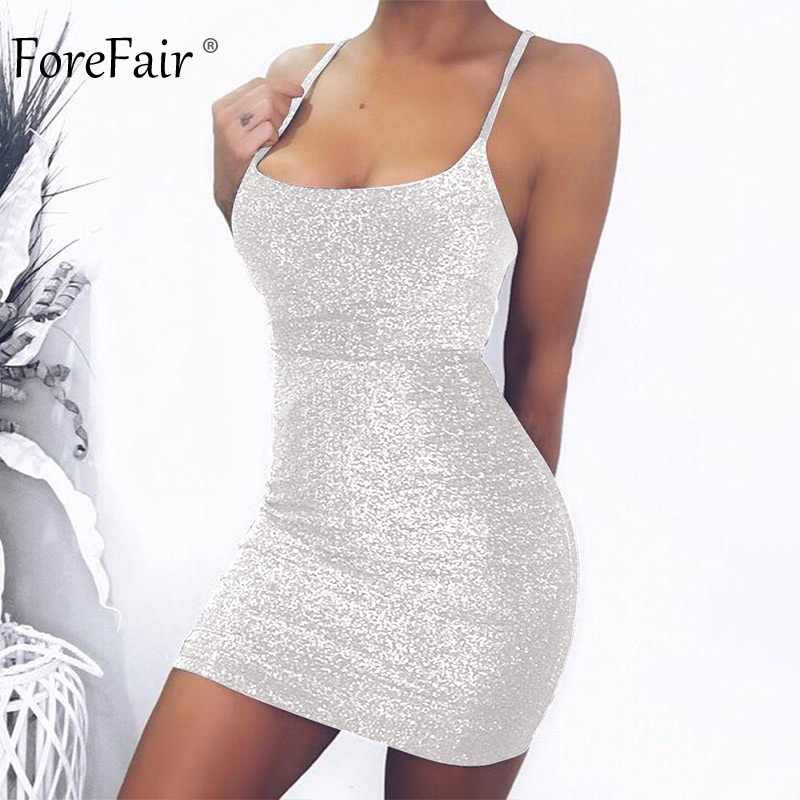 Forefair Mini Party Dress Glitter Sexy Bodycon Spaghetti Strap Backless Off Shoulder Short Sparkle Clubwear Summer Dress Women