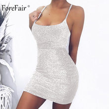 Forefair Mini Party Jurk Glitter Sexy Bodycon Spaghetti Strap Backless Off Shoulder Korte Sparkle Clubwear Zomer Jurk Vrouwen(China)