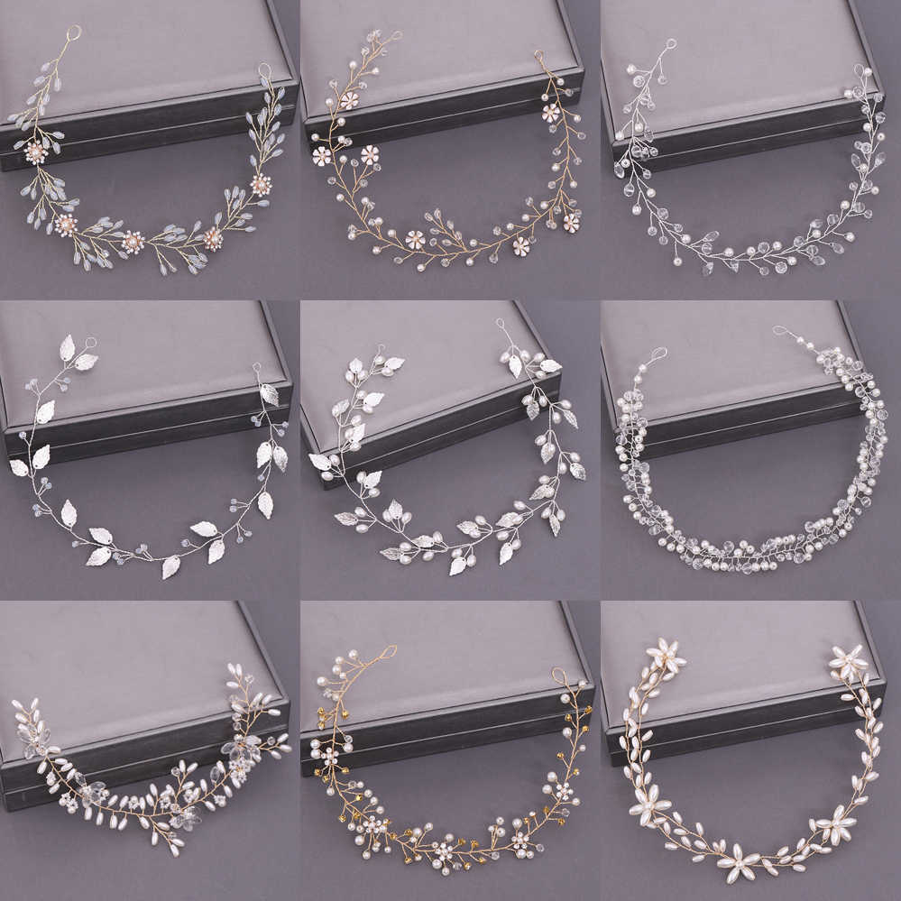 Bridal Headband Wedding Hair Jewelry Pearl Crystal Headband Bride Hair Accessories Headband Bridal Tiara Wedding Headband Flower