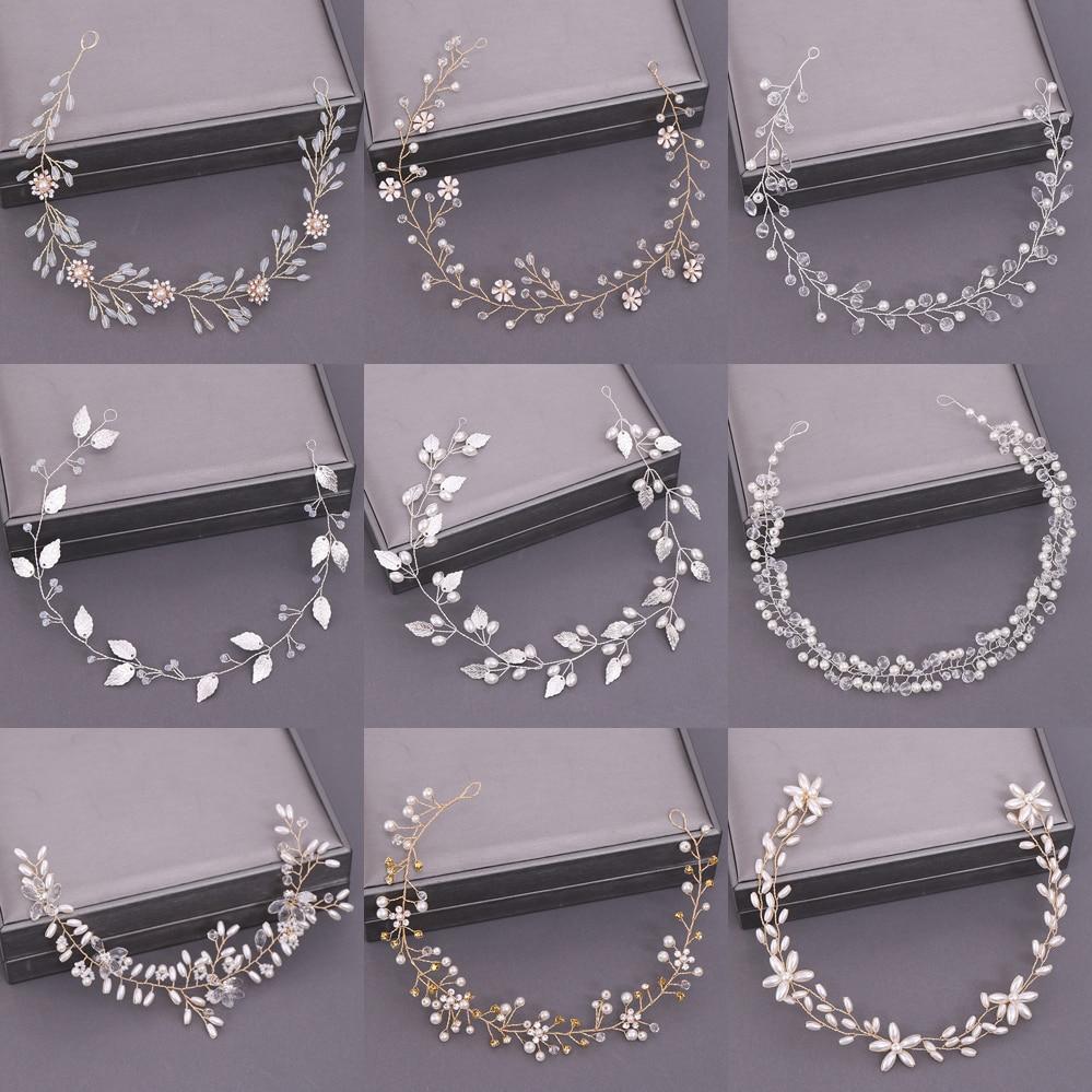Свадебная тиара, обруч для волос с жемчужинами и кристаллами, свадебный аксессуар для волос