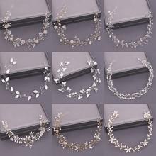 Diadema de novia de pelo de boda de perlas de joyería de cristal diadema novia accesorios para el pelo diadema nupcial Tiara de la boda de la flor