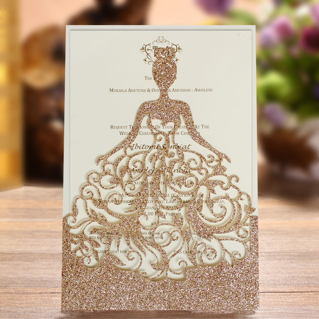 luxury bride design laser cut bridal shower invitations with customized wording golden shiny wedding invitation