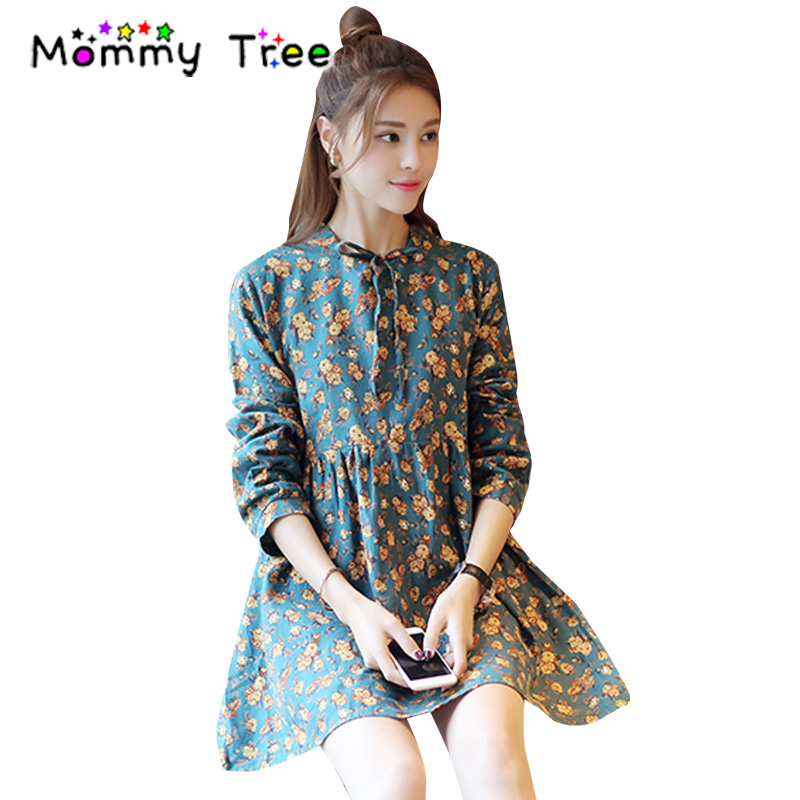 new autumn floral cotton long sleeved maternity dress