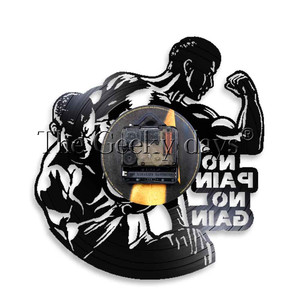 Image 5 - 1Piece No Pain No Gain LED Lighting Bodybuiling Vinyl Record Wall Clock Gym Fitness Hanging Lamp 3D Lighted Sport Night Lamp
