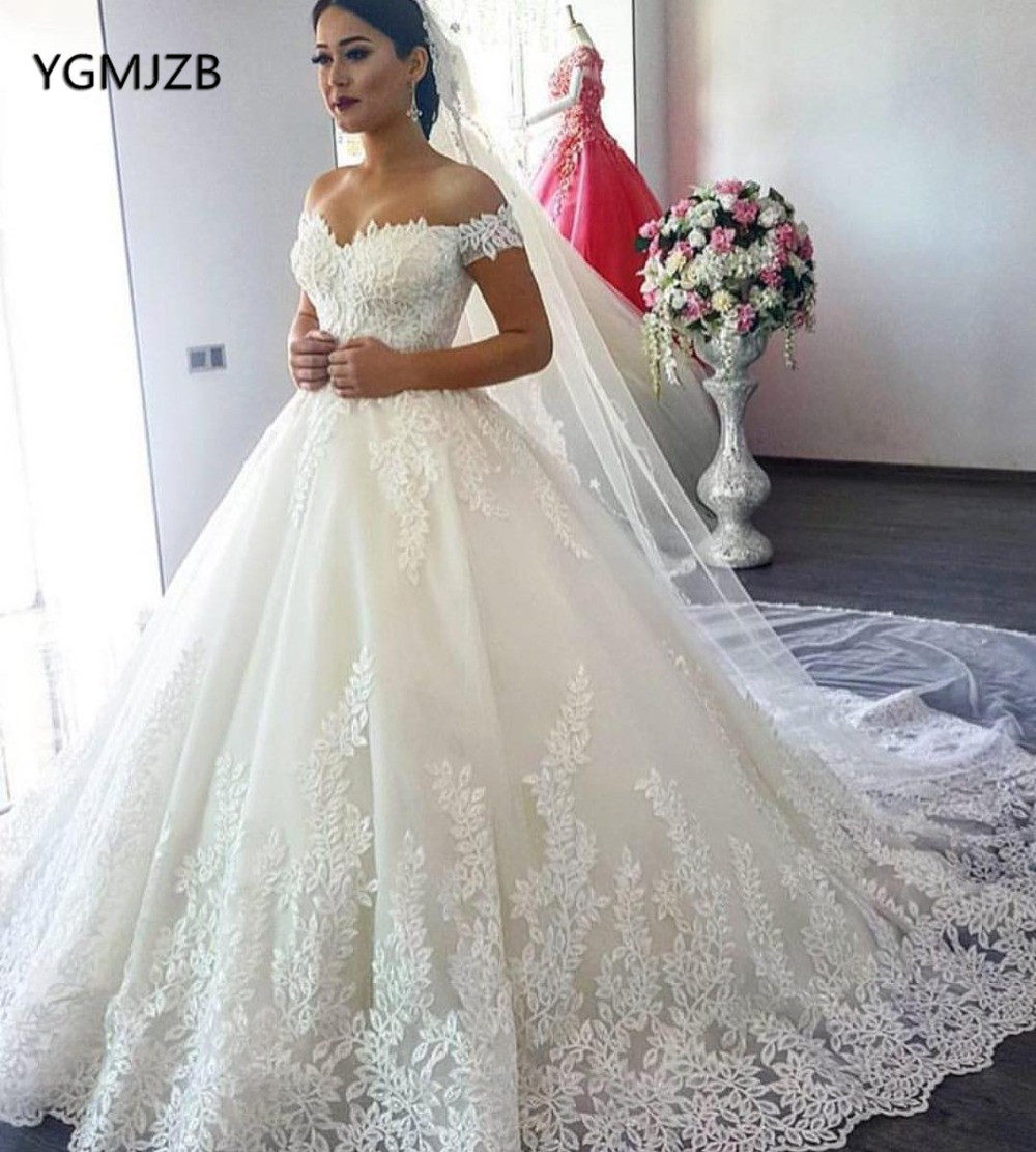 Vestido De Noiva 2019 Ball Gowns Lace Wedding Dress Off Shoulder Applique Beads Short Sleeves Bridal Gown Robe De Mariee