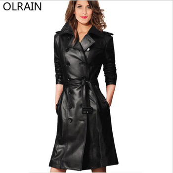 Olrain   New Women Black Leather Coat Fashion Slim Double-Breasted Long Trench Coats with Free Belt vestidos de inverno zara 2018