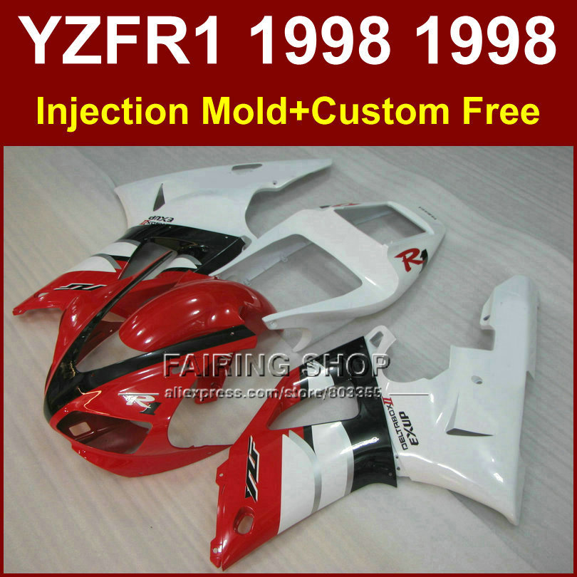 цена на EXUP white red motorcycle fairings kit for YAMAHA 1998 1999 YZFR1 YZF R1 YZF1000 98 99 fairing parts R1 W56T