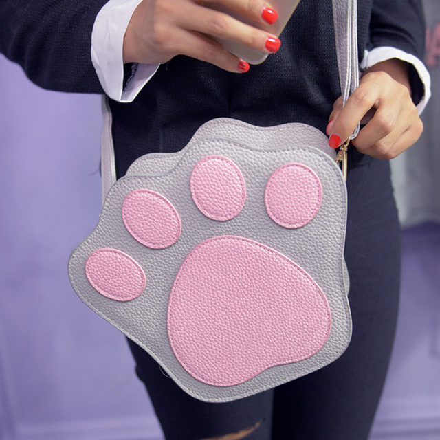 Pu Women Shoulder Bag Sweet Lovely Crossbody Bag Preppy Style Patchwork Zipper PAWS Bag Casual Clutches For School Student