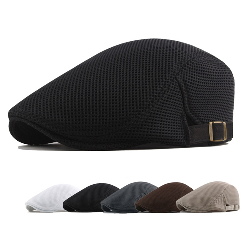 Cotton Beret Hat Men White Casual Mesh Flat Cap Male Solid Breathable Adjustable Classic Summer Duckbill Caps Fahion