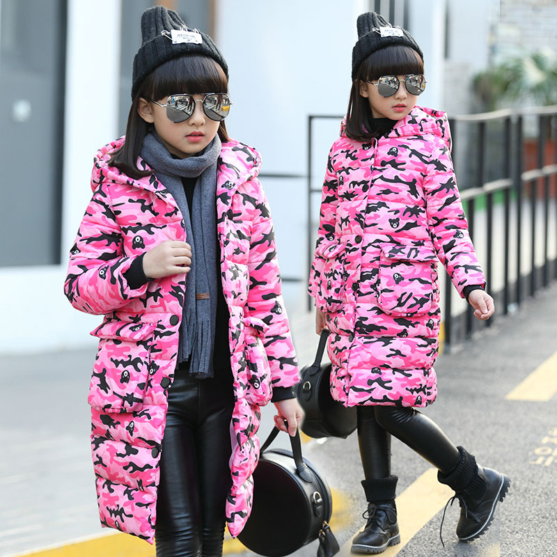 2017 Winter New Girls Cotton Coat Fashion Long Sleeve Hooded Camouflage Jacket Teenagers Outwear Kids Clothes Warm Overcoat Wear 2017 new fashion girls winter warm coat kids jacket hooded snow wear cotton down outerwear girl solid color winter clothes