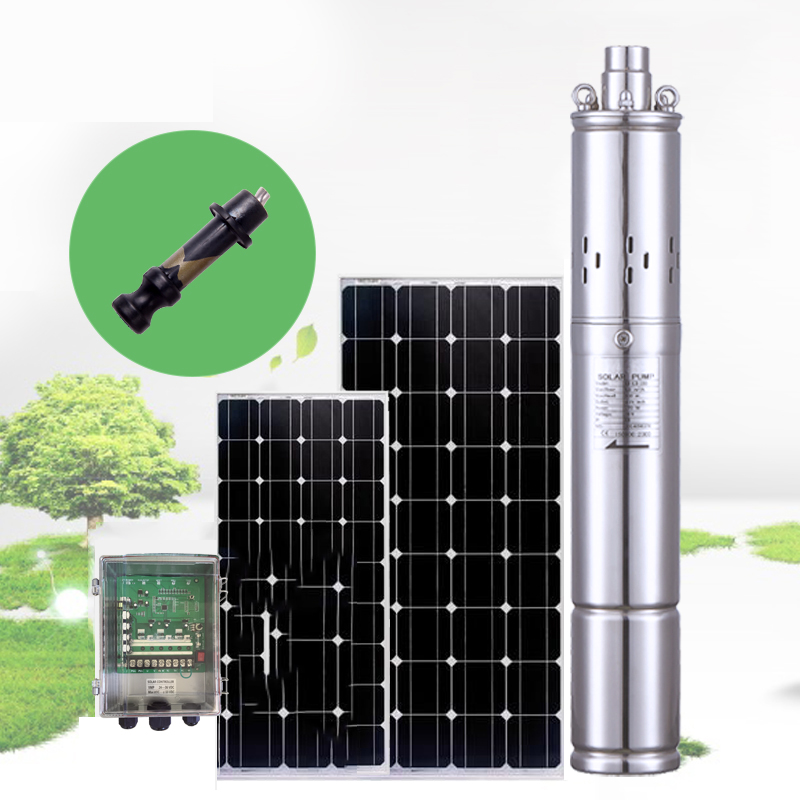 100m lift 24v 36v DC submersible solar water pump, 0.5 hp 1 hp 2 hp deep well solar powered water pump with external controller