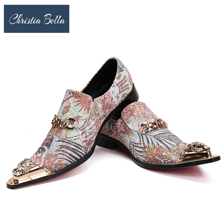 Christia Bella Birtish Style Wedding and Party Shoes for Men Brand Designer Floral Printed Dress Shoes with Gold Metal Toe FlatsChristia Bella Birtish Style Wedding and Party Shoes for Men Brand Designer Floral Printed Dress Shoes with Gold Metal Toe Flats