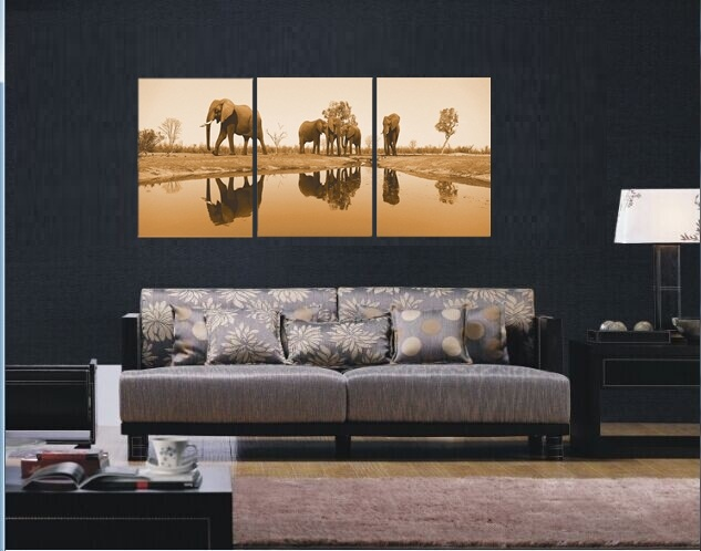 ᐊ3 Piece Canvas Art Sets Elephant Painting Picture Tree Wall