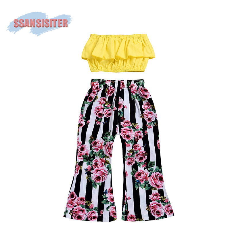 2PCS Kids Girls Clothing Set Off Shoulder Ruffle Tank Tops+Flower Bell Bottom Trouser Toddle Outfits Children Summer Clothes