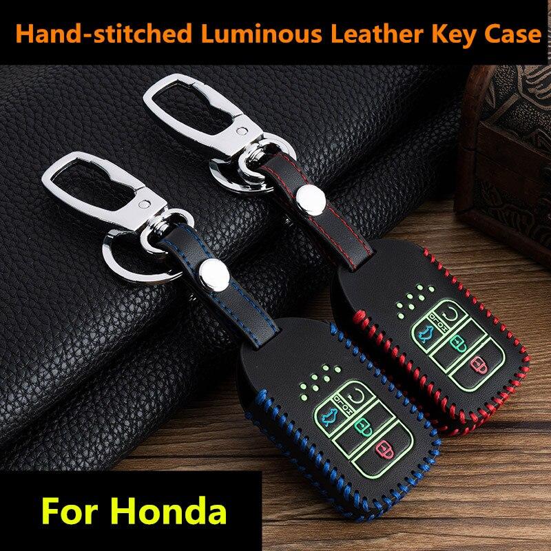 Alegender Genuine Leather Key Fob Cover Bag Protector Remote Jacket Holder Fit for Honda 3+1 Buttons CRV Accord Civic Polit Head Key