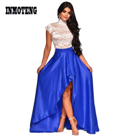 INMOTENG Summer Sexy Formal Party 2 Piece Dress Lady Turtleneck Short Sleeve Back Hollow Lace Tees Solid Irregular Maxi Dresses