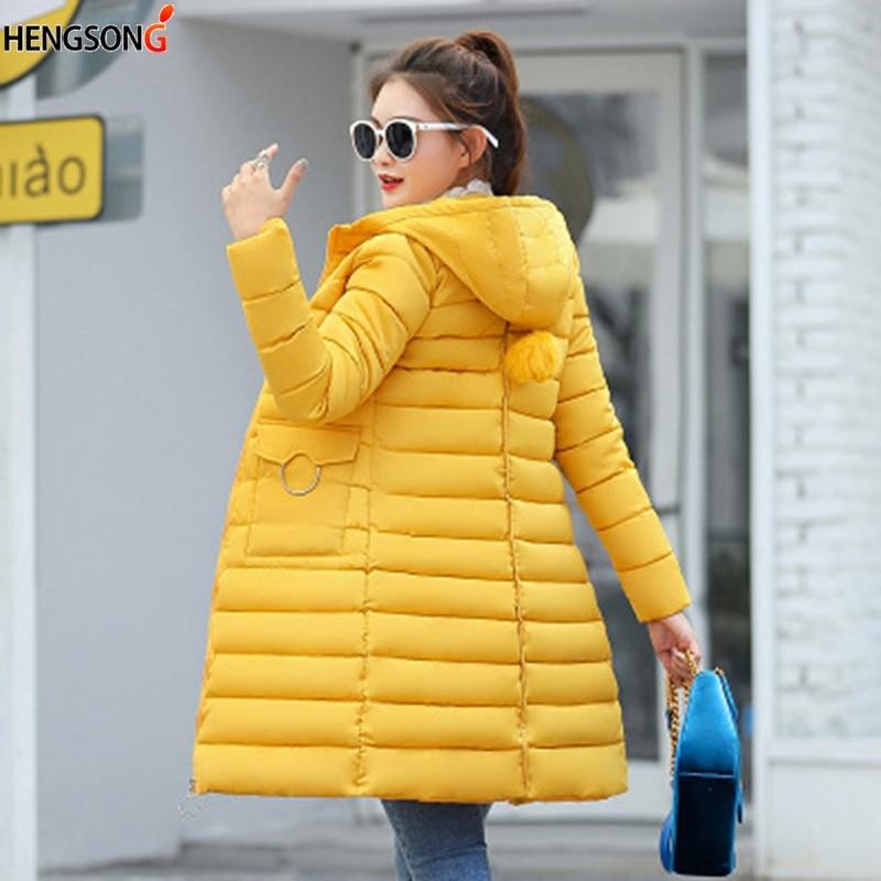 HENGSONG Winter Hooded Warm Coat Plus Size Candy Color Cotton Blend Jacket Female Long Parka Womens Wadded Jaqueta Feminina