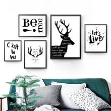 Be Fast Quotes Canvas Art Print Poster, Animal Deer Wall Pictures for Home Decoration HD2334