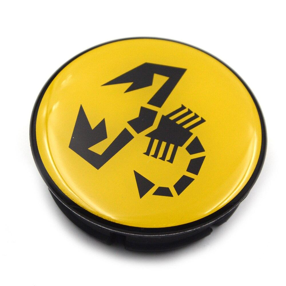Image 5 - 20pc/lot 56mm Yellow Abarth Car Emblem Wheel Center Hub Cap Rim Badge Covers Scorpion Wheel Center Caps 5JA601151A-in Wheel Center Caps from Automobiles & Motorcycles