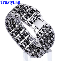 TrustyLan Solid Stainless Steel 35MM Wide Heavy Men S Skeleton Skull Bracelet Punk Rocker Ghost Bangle