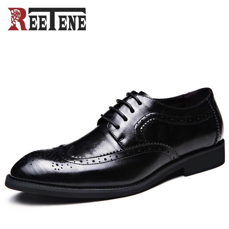 REETENE Mode Hommes Chaussures En Cuir Véritable Hommes Robe Chaussures de Marque De Luxe Hommes D'affaires Décontractée Classique Gentleman Chaussures Homme