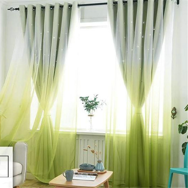 Gradient Solid Linen Curtains For Living Room Bedroom