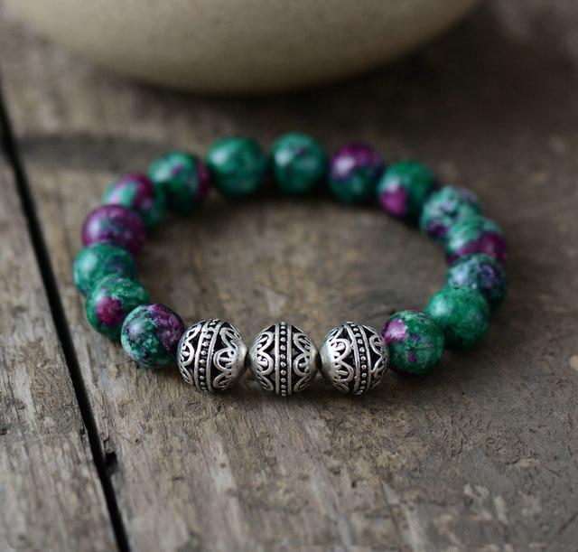 Mens Beaded Bracelets 10MM Natural Stone Tibetan Beads Elastic Bracelet Handmade Couples Stretch Bracelets Gift Dropshipping