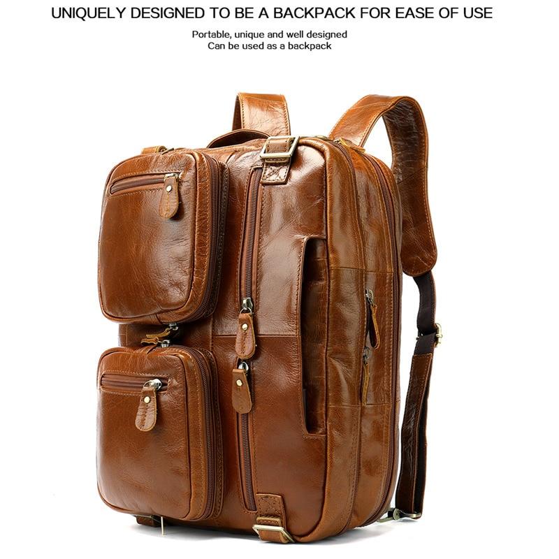 2019 Top Cowhide Handbags Large Capacity Men Genuine Leather Backpack Bag Men's Crossbody Bags Leather Multifunction Laptop Bags