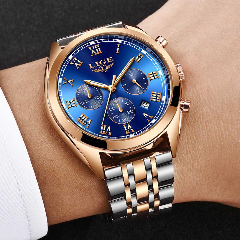 남성 시계 lige 인기 브랜드 럭셔리 남성 방수 쿼츠 시계 남성 패션 비즈니스 시계 relogio masculino relojes hombre