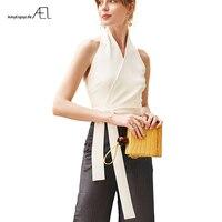 AEL Sexy Halter Top Women Bustier Crop Elegant Lady Tie Waist Top Vest White /Black 2019 Summer Slim Blouse Woman