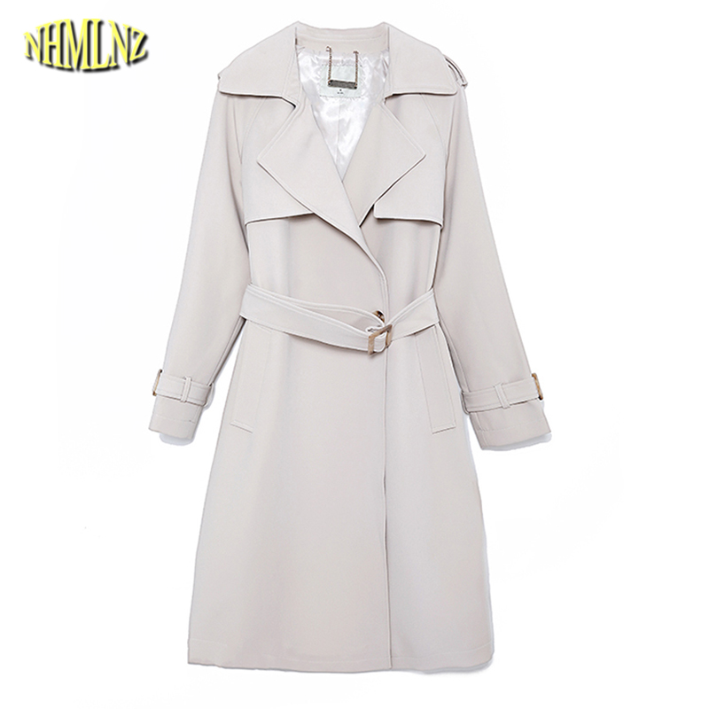 Autumn Women Trench Slim Vintage Belted Elegant Lady Comfortable Long Trench Coat Fashion Solid color Windbreaker