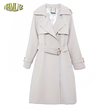 Autumn Women Trench Slim Vintage Belted Elegant Lady Comfortable Long Trench Coat Fashion Solid color Windbreaker Outwear WK293