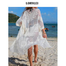 6b5de1c7083 2019 Sexy Transparent Lace Tunic Sheer Swim Suit Cover Up Plus Size Women  Summer Beach Wear Bikini Wrap Dress Pareo Sarongs N703